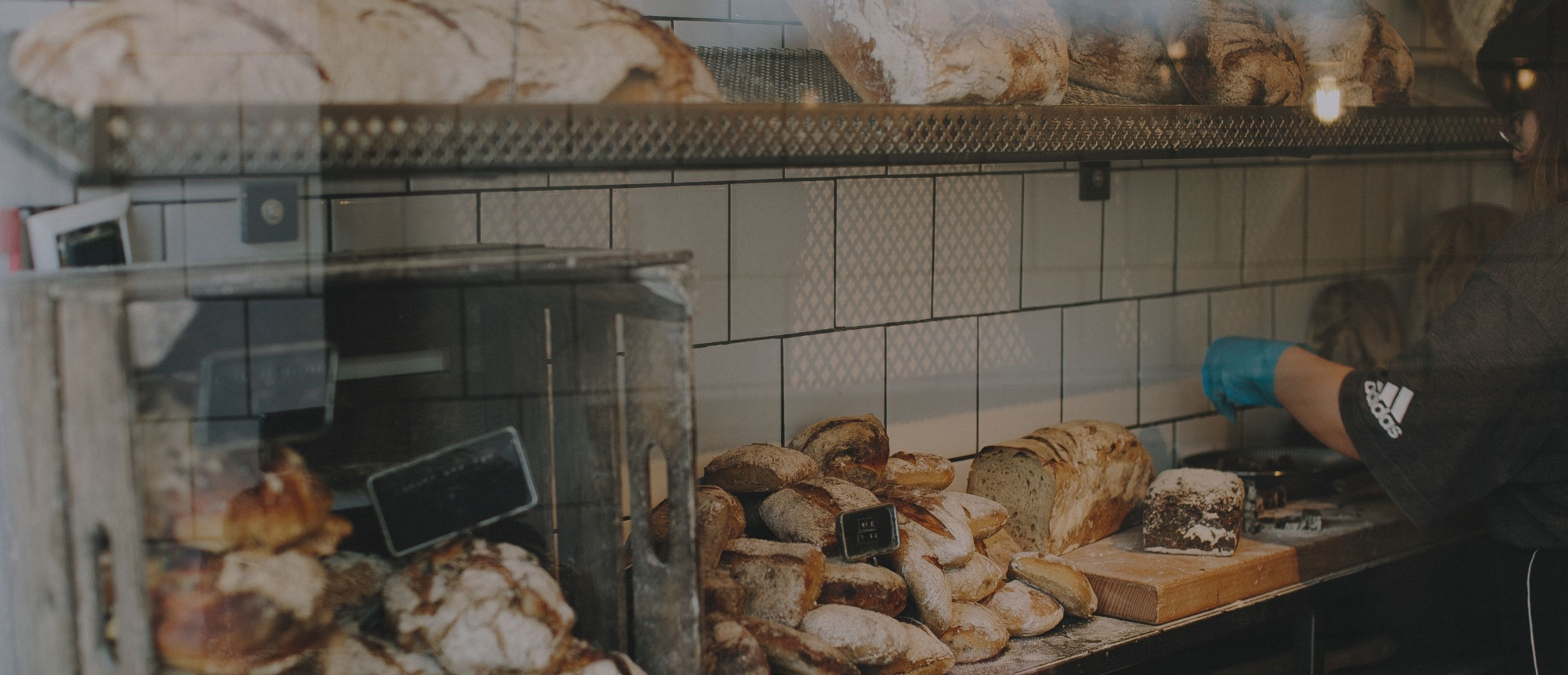 Bakery shelves with bread display
